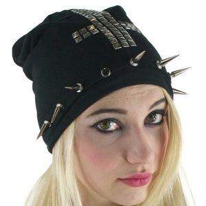 Black beanie adorned cross hat spikes studs
